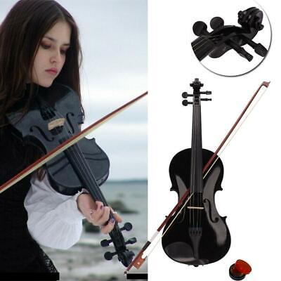 Hot School Acoustic Violin 4/4 Full Size Fiddle W/Case and Bow Rosin Black Color