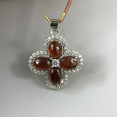 Chinese Rare Collectible Antique Old 925 Silver & Garnet Handwork Flower Pendant