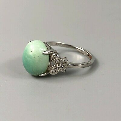 Antique Chinese Collectible Old Turquoise & 925 Silver Handwork NO. 8.5-12 Ring