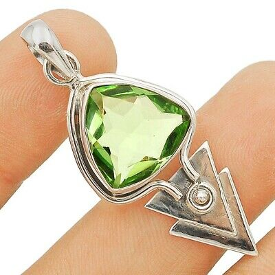 SALE 6CT Green Amethyst 925 Solid Sterling Silver Pendant Jewelry 1 3/4'' Long