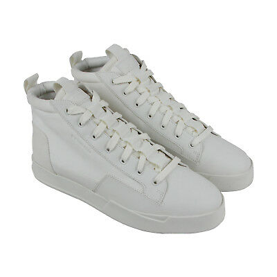 a536e19e99a G-Star Raw Rackam Core Mid Mens White Nubuck High Top Lace Up Sneakers Shoes