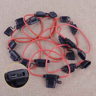 10pcs Cable In Line Car Auto Blade Fuse Holder Splash Proof 40A 12 AWG 32V