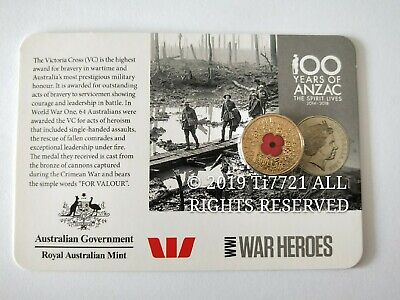 One UNC 2015 Red Poppy WW1 War Heroes One Dollar $1 coin in original card.ANZAC