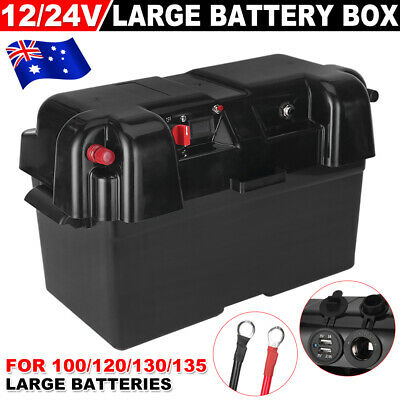 135AH Battery Box AGM Deep Cycle Dual System 12V USB Ports Large Marine W/ Strap