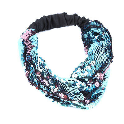 Reversible Sequin Women's Wide Headband Band Hairband Hair Hoop Accessories LG