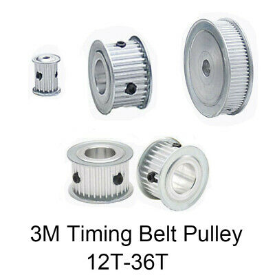 3M Timing Belt Pulley 12T-36T Pitch 3mm Tooth Width 15mm Synchronous Wheel Gear