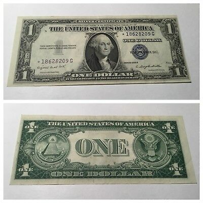 VINTAGE star 1935-G $1 SILVER CERTIFICATE NO MOTTO ONE DOLLAR BILL BLUE SEAL VNC