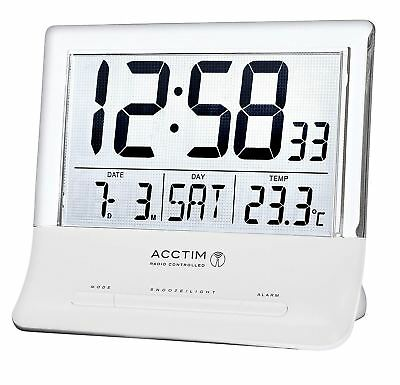 ACCTIM Torne Radio Controlled Alarm Clock with Jumbo LCD Screen and Temperature
