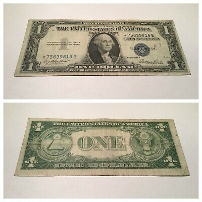 Vintage Star 1935-E $1 Silver Certificate One Dollar Note Washington Blue Seal