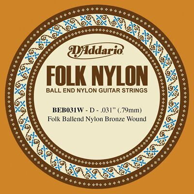 D'Addario BEB031W .031 Folk Single Nylon String with Ball End for Guitar