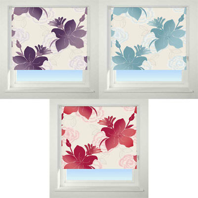 Universal Lily Patterned Thermal Blackout Roller Blind