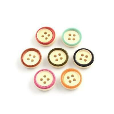 Mixed Wood Round Buttons 15mm Sew On 4 Holes BULK 5 Packs x 30 Pcs Sewing Crafts