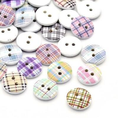 Mixed/White Wood Round Buttons 15mm Sew On 2 Holes BULK 4 Packs x 30 Pcs Sewing