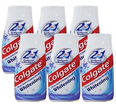 6 x COLGATE 130g TOOTHPASTE 2 IN 1 LIQUID GEL WHITENING + MOUTHWASH - ALL NEW