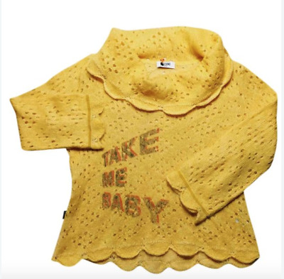 Moschino Take me Baby maglione lana yellow mohair & wool sweater