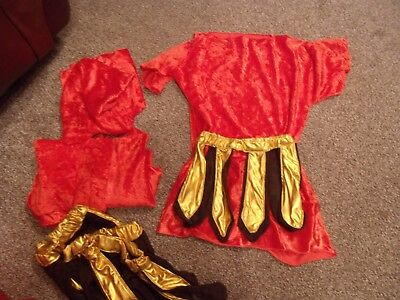 Job lot of 4 Roman Soldier costumes - tunics and leather type skirts