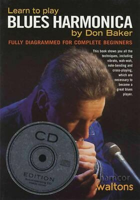 Learn to Play Blues Harmonica Don Baker Music Book/CD Method SAME DAY DISPATCH