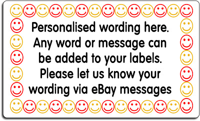Smiley Face Border Style Personalised Labels with FREE protective wallet