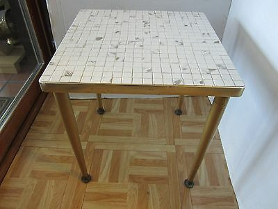 "Mid century coffee side table micro tile ceramic White & grey 15"" square USA"