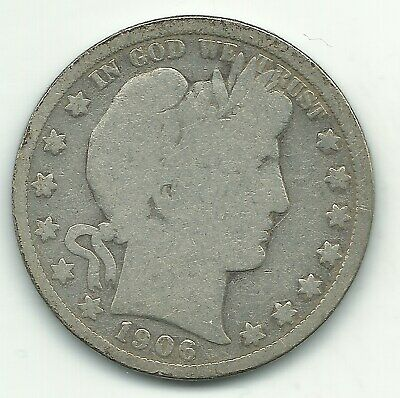 A Vintage Very Good Vg 1906 O Barber Silver Half Dollar-Old Us Coin-Feb203