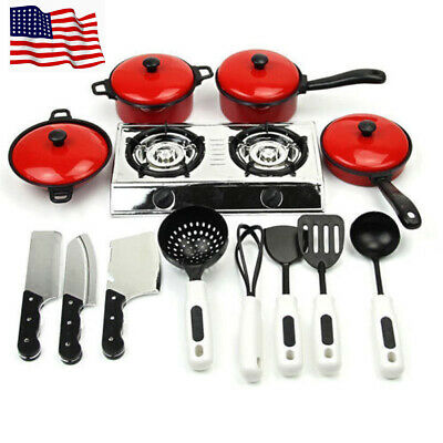 13PCS Kid Toy Play House Kitchen Utensils Cooking Pots Pans Food Dishes Cookware