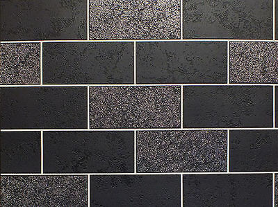 Black Brick Silver Glitter Tile Tiling Vinyl Bathroom Kitchen Wallpaper Fd41462