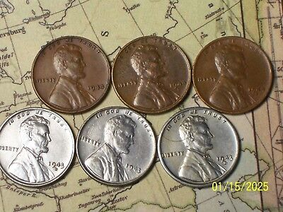 1943/44--P,D,S @  6 **AWESOME** Lincoln Pennys""