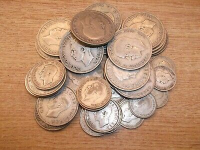 Job Lot 34 Pre-1947 British Silver Coins 343g Half Crown One & Two Shilling