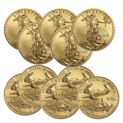 Lot of 10 Gold 2019 Gold 1/4 oz Gold American Eagle $10 US Eagle Coins
