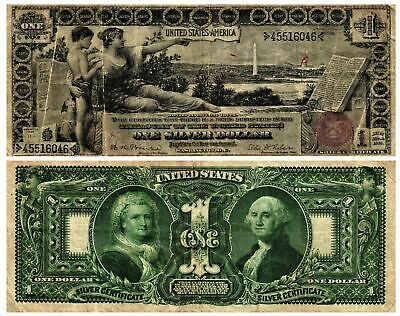 1896 $1 Lg Size U S Currency Silver Certificate EDUCATIONAL FR#225 Circulated