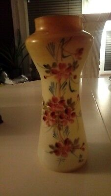 Victorian opaque glass vase with hand-painted floral decoration 21cm tall