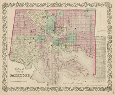 """""""Colton's City of Baltimore, Maryland"""". Decorative antique city plan 1863 map"""