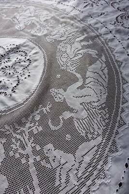 Super white circular Irish linen tablecloth hand embroidery & figural filet lace