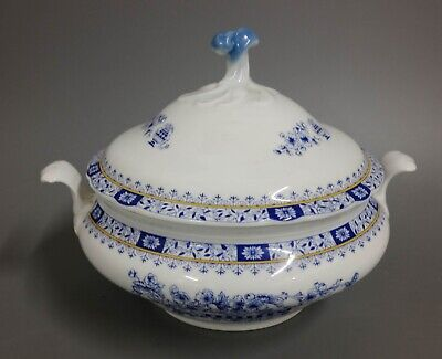 1,5 l Suppenterrine Oscar Schaller China blau / gelber Rand