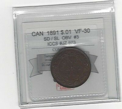 **1891 SD/SL Obv#3**,Coin Mart Graded Canadian, Large One Cent, **VF-30**ICCS