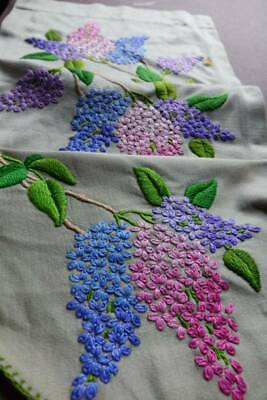 Vintage UNUSED hand embroidered table setting - Lilacs - runner & mats