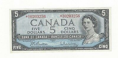 **1954 Modified**Canada $5 Note, Beattie/Rasm BC-39bA, Ser# *SS 0203256 Repl