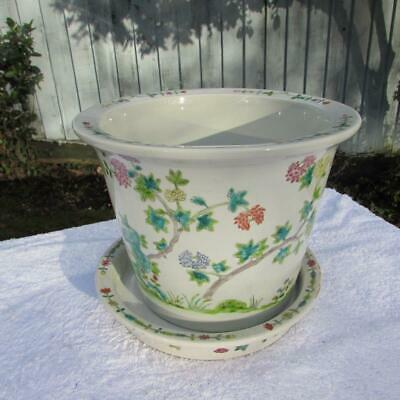 Large Chinese Famille Rose Jardiniere Plant Pot And Under Dish