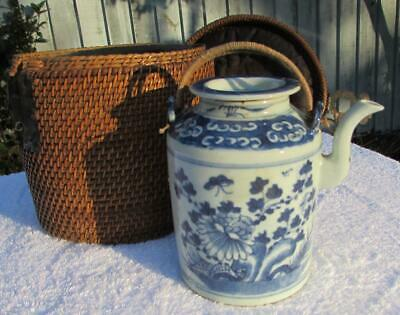 ANTIQUE CHINESE 19thC BLUE AND WHITE PORCELAIN TEAPOT IN WICKER CASE