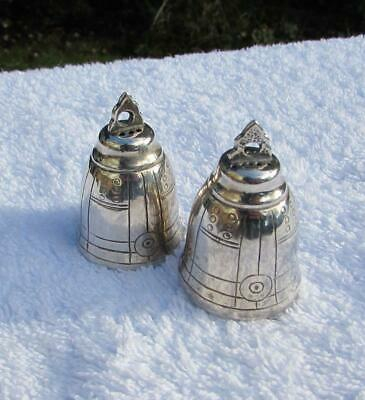 Pair Antique Chinese /Hong Kong Sterling Silver Salts / Pepper - Temple Bells