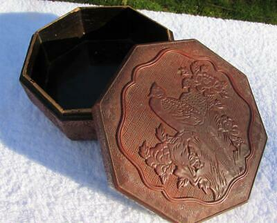Antique Chinese 19thC Cinnabar Lacquered Hexagonal Box - Fine Detail