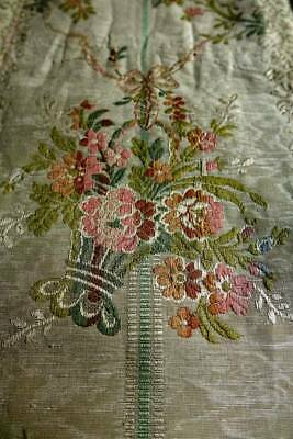 """Antique 1920's French Lyon silk brocaded lampas fabric - 50"""" x 25"""""""