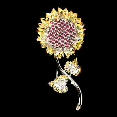 Round 2mm Top Red Pink Ruby 925 Sterling Silver Sunflower Brooch