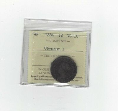 **1884 Obv.#1**, ICCS Graded Canadian, Large One Cent, **VG-10**