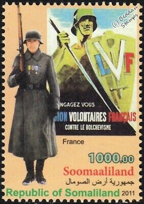WWII France Legion of French Volunteers Army Uniform Stamp / LVF War Poster