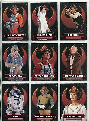 Star Wars Rogue One Mission Briefing Complete 9 Card Heroes Alliance Chase Set