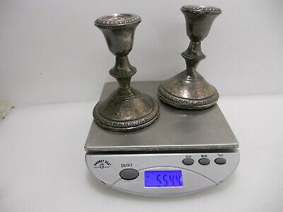 """Pair 4.5"""" Poole #299 Weighted Sterling Silver Candlesticks. Rope Pattern 544.4g"""
