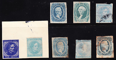 US CSA collection: 8 old Confederate States of America stamps mint/unused/used