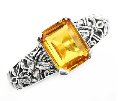 2CT Citrine 925 Solid Sterling Silver Ring Art Deco Filigree Jewelry Sz 9