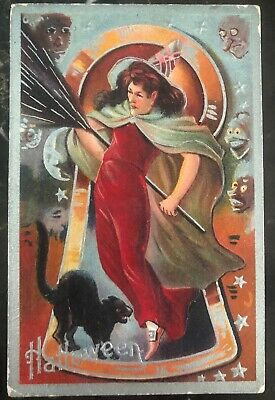 1909 Usa Picture Postcard PPC Cover Halloween Witch & Black Cat